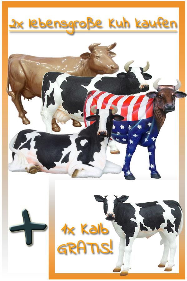 Du erhältst beim Kauf von 2 lebensgroßen Kühen 1 Gratis Kalb!