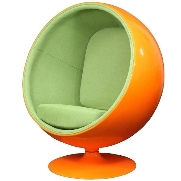 kugelsessel orange mit gr ner polsterung walt deko. Black Bedroom Furniture Sets. Home Design Ideas