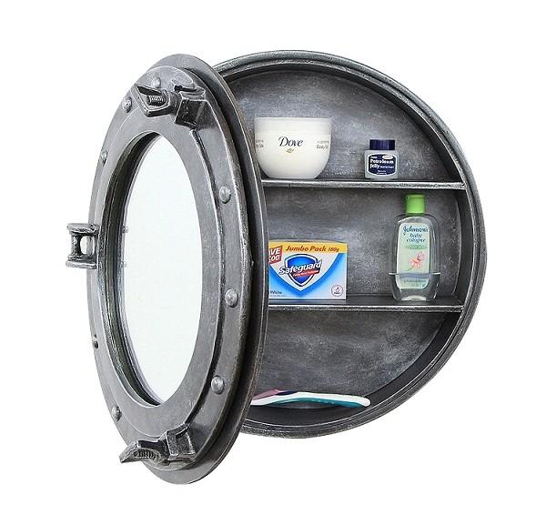 Bullauge spiegel mit regal silber walt deko - Spiegel zum hinstellen ...