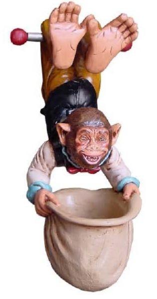 Affe mit Trinkgeldbeutel