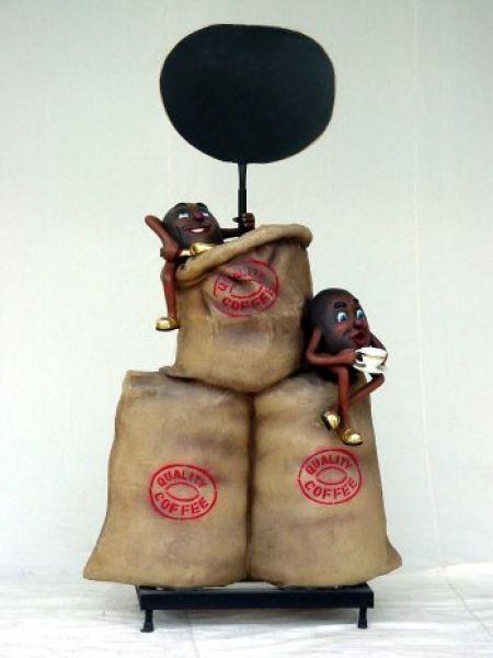 Quality Coffee Aufsteller mit 2 Kaffeebohnen