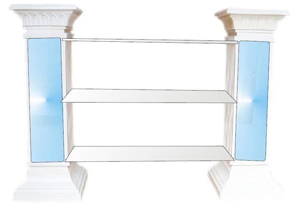 2 Säulen Regal mit Glasscheiben