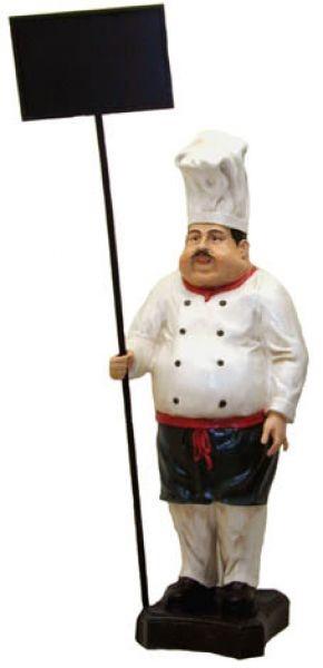 Koch mit Angebotsschild
