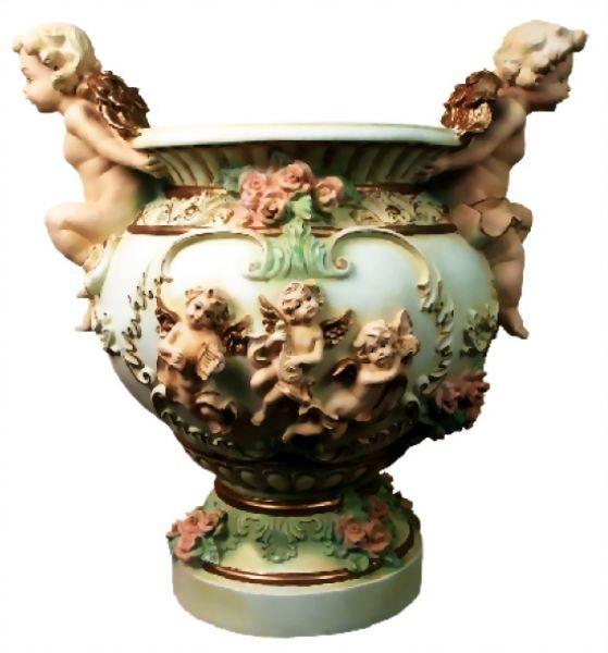 Vase bunt mit Engeln