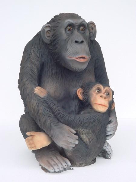 Affe Schimpanse mit Jungen