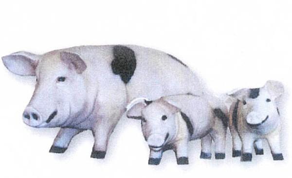 Schwein mit Jungen 3-teilig Höhe: 25 - 50 cm