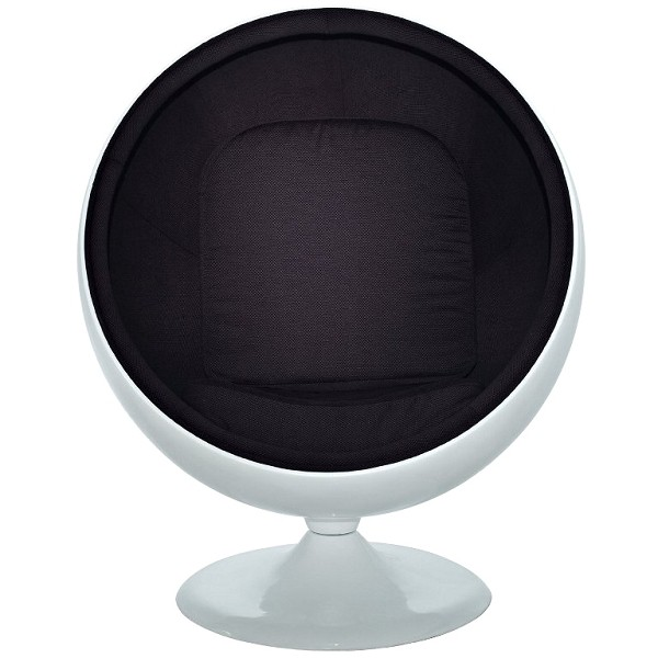 kugelsessel wei mit schwarzer polsterung walt deko. Black Bedroom Furniture Sets. Home Design Ideas