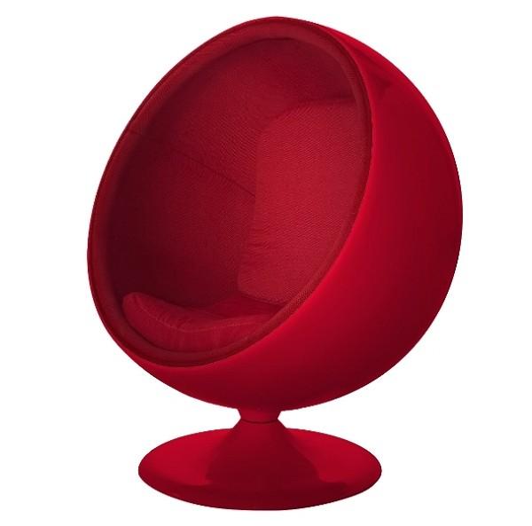 kugelsessel rot mit roter polsterung walt deko. Black Bedroom Furniture Sets. Home Design Ideas