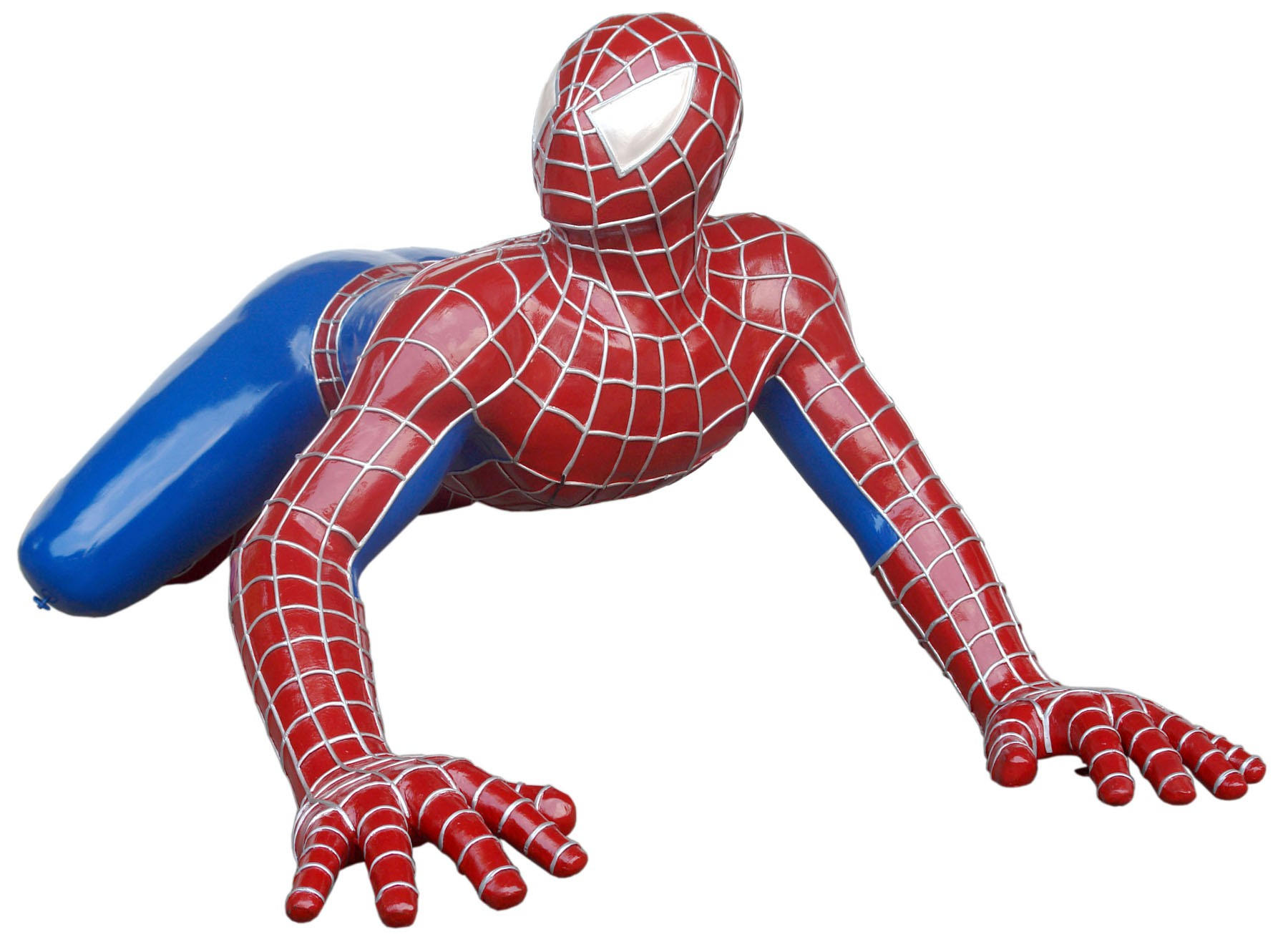 Spiderman hängend an Wand