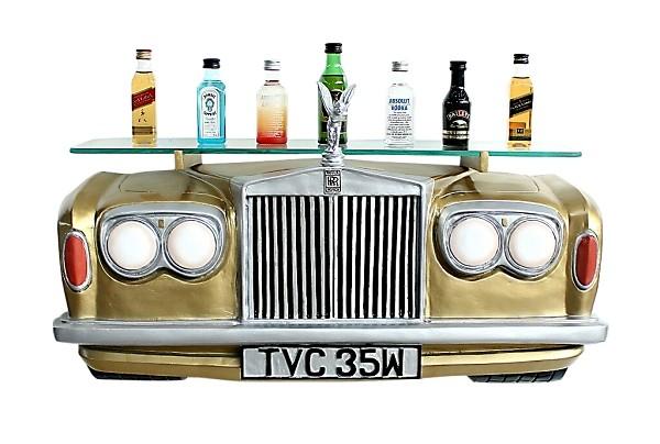 Wandregal Rolls Royce Gold mit Glasplatte