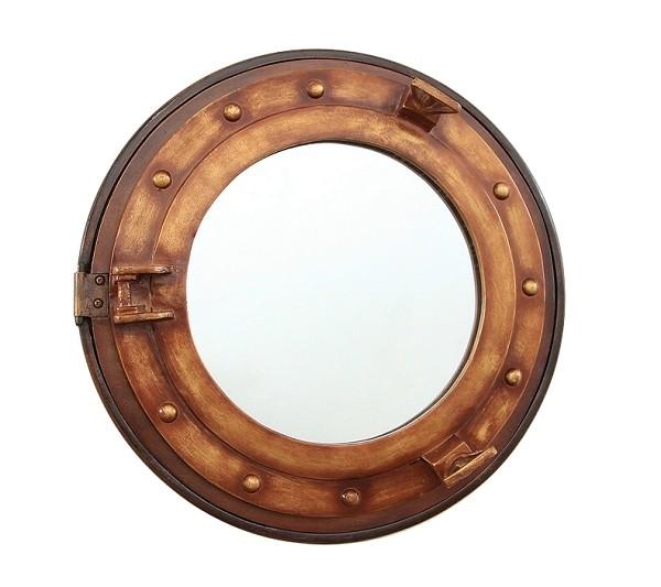 Bullauge spiegel mit regal braun walt deko - Spiegel zum hinstellen ...