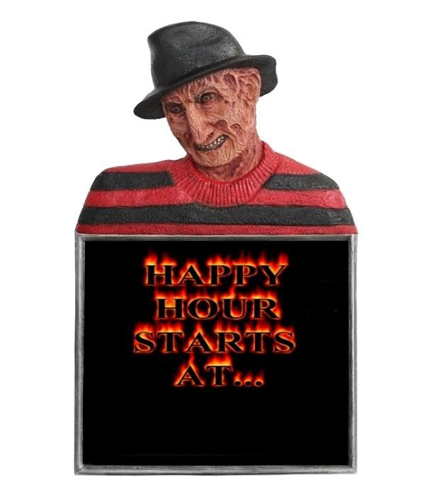 Monster Freddy Krüger Büste Happy Hour Angebotstafel