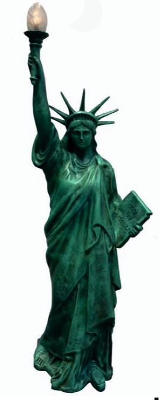 Freiheitsstatue original m. elekt. Fackel als Lampe Kupferpatina