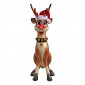 lustiges Rentier Rudolf mit leuchtender Nase