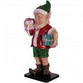 sonniger Weihnachtsgehilfe Elf mit zwei Geschenken