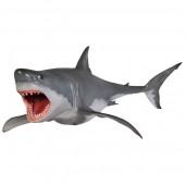 großer weißer Hai auf Metallständer