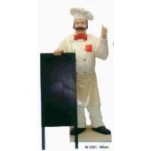 Koch mit stehender Menütafel