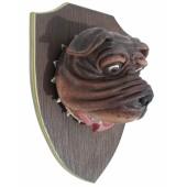 Bulldogkopf auf Holz