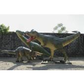 Dinosaurier Brachiosaurus mit Tyrannosaurus und Triceratops