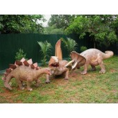 Dinosaurier Dimetrodon, Stegosaurus und Triceratops