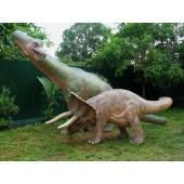 Dinosaurier Brachiosaurus und Triceratops