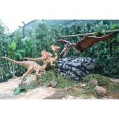 Dinosaurier Pteranodon mit Raptors