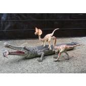 Dinosaurier Sarcosuchus und Raptors