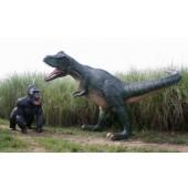 Dinosaurier Tyrannosaurus greift Gorilla an