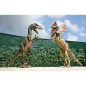 Dinosaurier Velociraptor und Dilophosaurus kämpfend