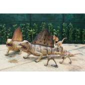 Dinosaurier Dimetrodon mit kleinen Velociraptors