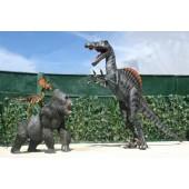 Dinosaurier Spinosaurus greift Gorilla und Raptor an