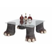 Elefantenbeine Tisch mit Glasplatte