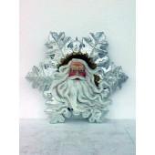 Weihnachtsmanngesicht mit Bart als Schneeflocke groß