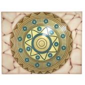 Antikes Mittelalterliches Schild Gold Blau auf Mosaikfür Wand