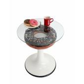 Donuttisch braun auf Ständer mit Glasplatte