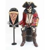 Piratenskelett auf Weinfass mit Pizzaschild