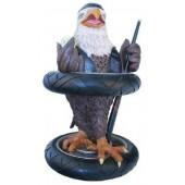 Adler als Rocker mit Billiard-Queues und Kugel