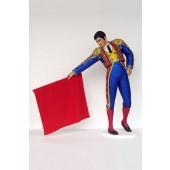 Spanischer Stierkämpfer mit rotem Tuch