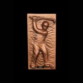 Golfer als bronzefarbende Wandtafel