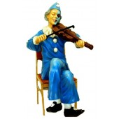 Clown sitzend mit Geige