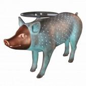 Bronzefarbendes Schwein als Beistelltisch