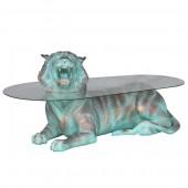 liegender Tiger in Bronzeoptik als Couchtisch