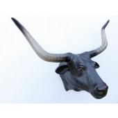 Bullenkopf mit langen Hörnern Schwarz