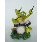 Frosch mit Schlagzeug