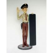 Policeman mit Angebotstafel