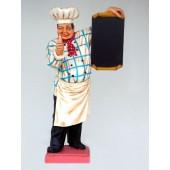 Koch mit Angebotstafel