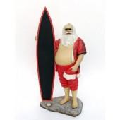 Weihnachtsmann als Surfer mit Angebotstafel klein