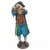 Pirat mit Fernrohr und Papagei