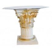 1-Säulen Tisch mit Glasplatte