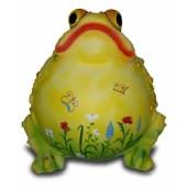 Dicker aufgeblaener Frosch mit dekorativer Blumenbemalung gelb